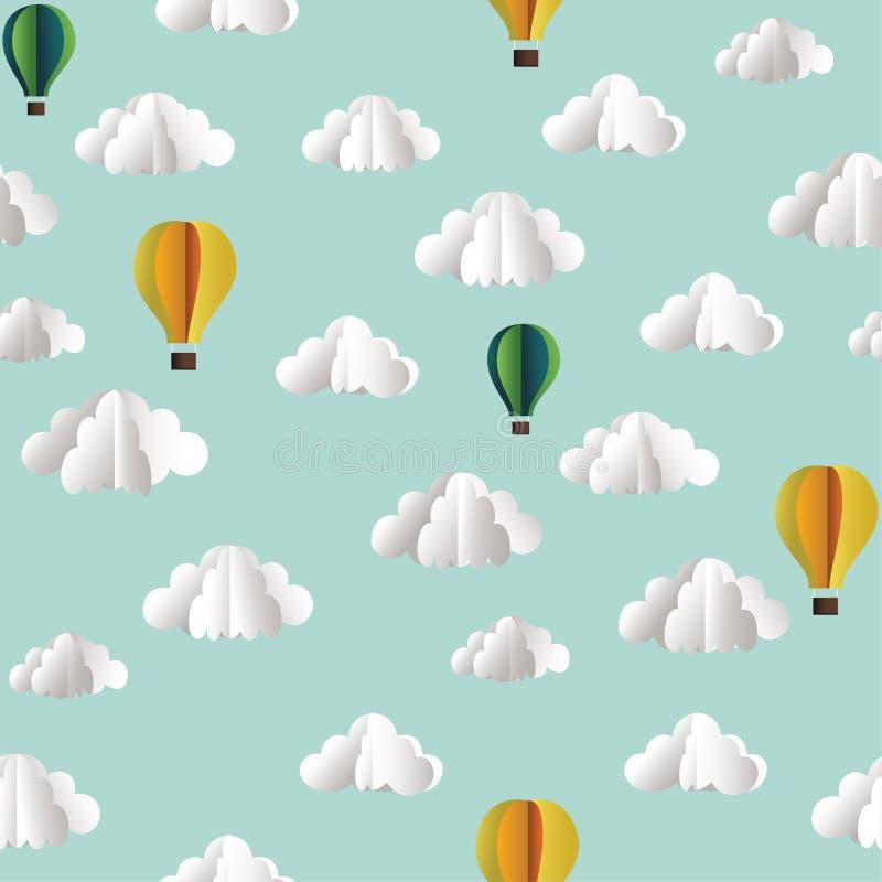Vector el modelo inconsútil de papel con las nubes y los globos del aire caliente ilustración del vector
