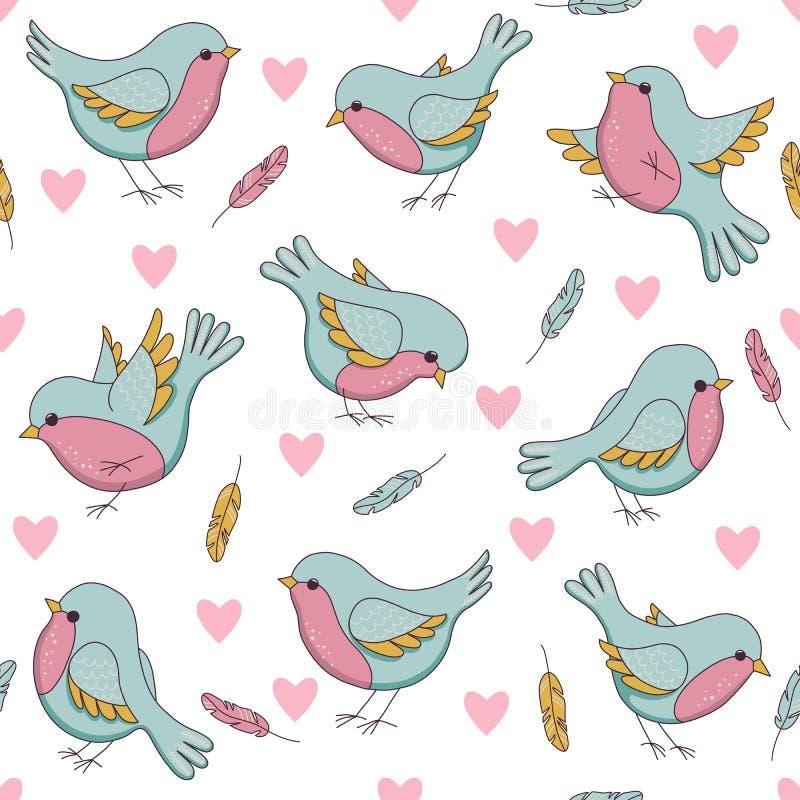 Vector el modelo inconsútil de pascua con los pájaros, los corazones y las plumas stock de ilustración