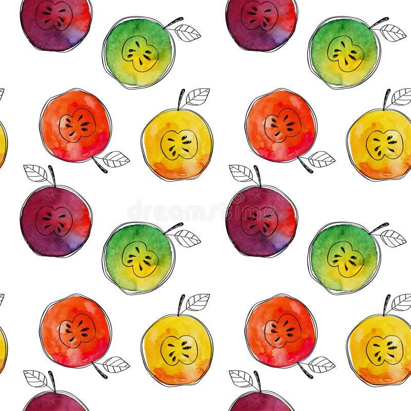 Vector el modelo inconsútil del amarillo de la acuarela, verde, rojo, manzana anaranjada con los elementos a mano negros En blanc libre illustration