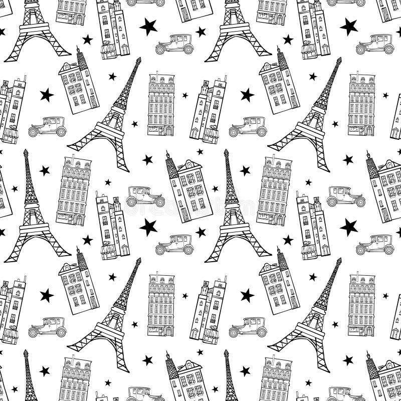 Vector el modelo inconsútil del dibujo blanco del negro de las calles de París con la torre, las casas, los coches y las estrella ilustración del vector