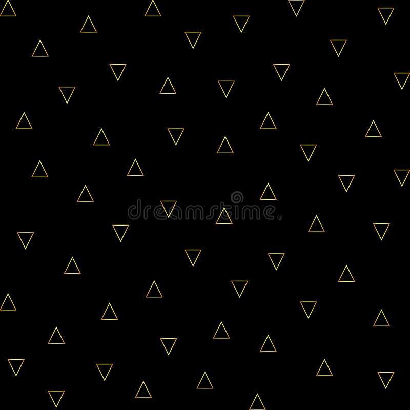 Vector el modelo inconsútil del esquema de los triángulos del oro en el fondo negro stock de ilustración