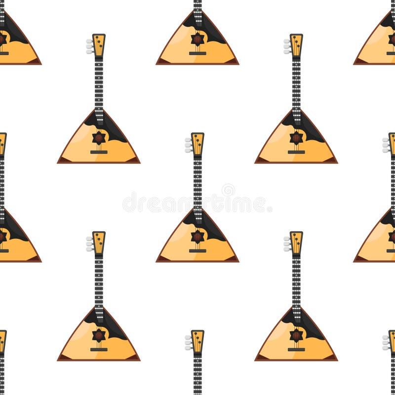 Vector el modelo inconsútil del estilo plano con la balalaica tradicional rusa del instrumento musical libre illustration