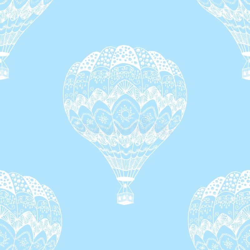 Vector el modelo inconsútil del globo del aire caliente en estilo del zentangle stock de ilustración