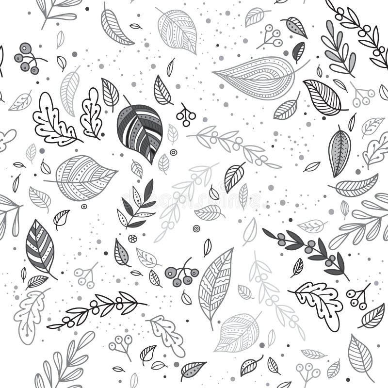 Vector el modelo inconsútil del otoño con el fondo del blanco de las hojas libre illustration
