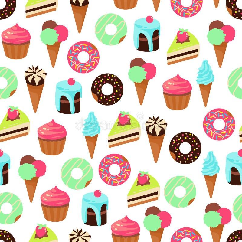 Vector el modelo inconsútil del postre de los dulces en el fondo blanco stock de ilustración