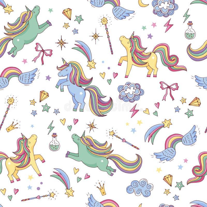 Vector el modelo inconsútil del unicornio, de nubes, del arco iris y de la vara de la magia ilustración del vector
