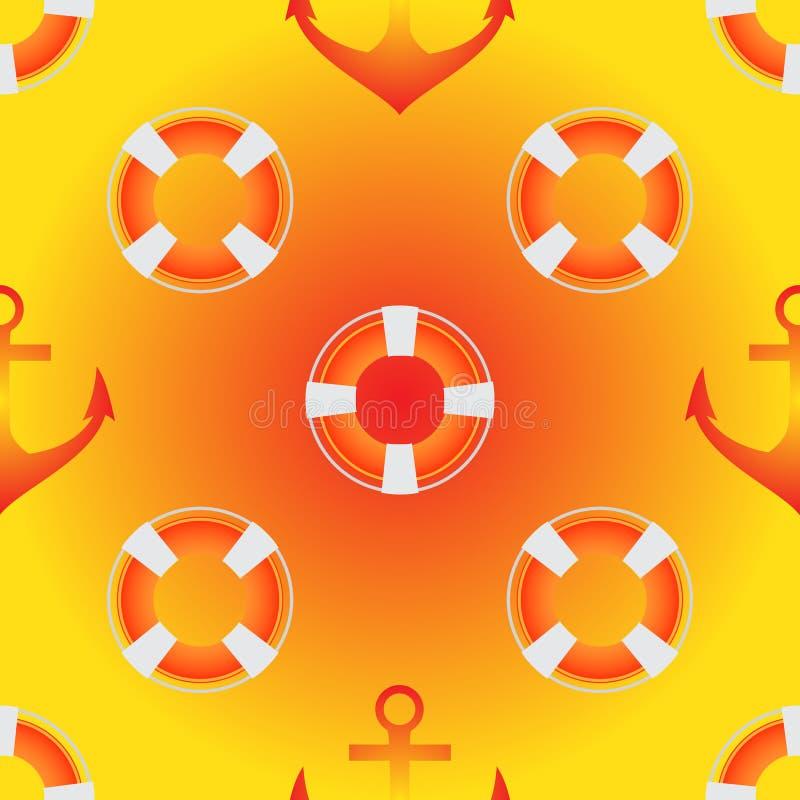 Vector el modelo inconsútil en colores amarillos, blancos y rojos Tema del mar, salvavidas, anclas stock de ilustración