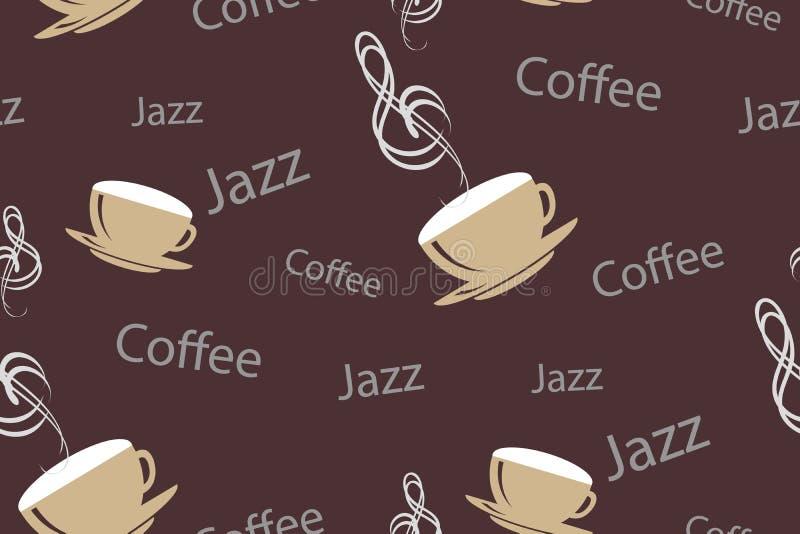 Vector el modelo inconsútil en vintage o estilo retro del café Tazas de café con la clave de sol, las palabras jazz y el café mus ilustración del vector