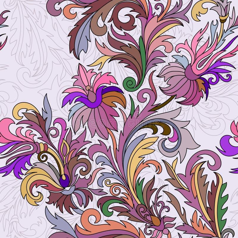 Vector el modelo inconsútil Flores dibujadas mano de la fantasía del estilo del garabato ilustración del vector