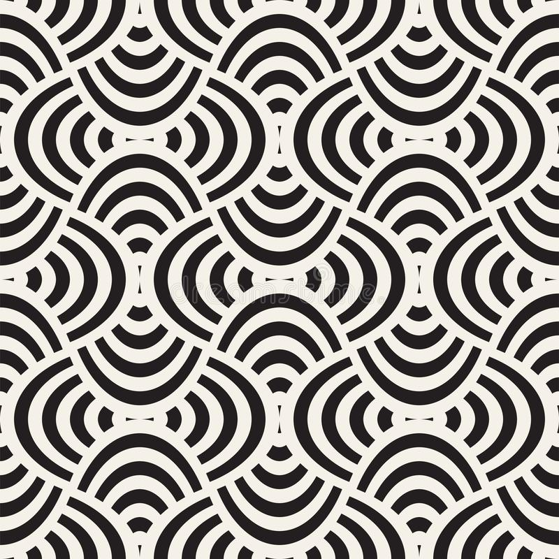 Vector el modelo inconsútil geométrico con rejilla de las formas curvadas El monocromo abstracto redondeó textura del enrejado Fo ilustración del vector