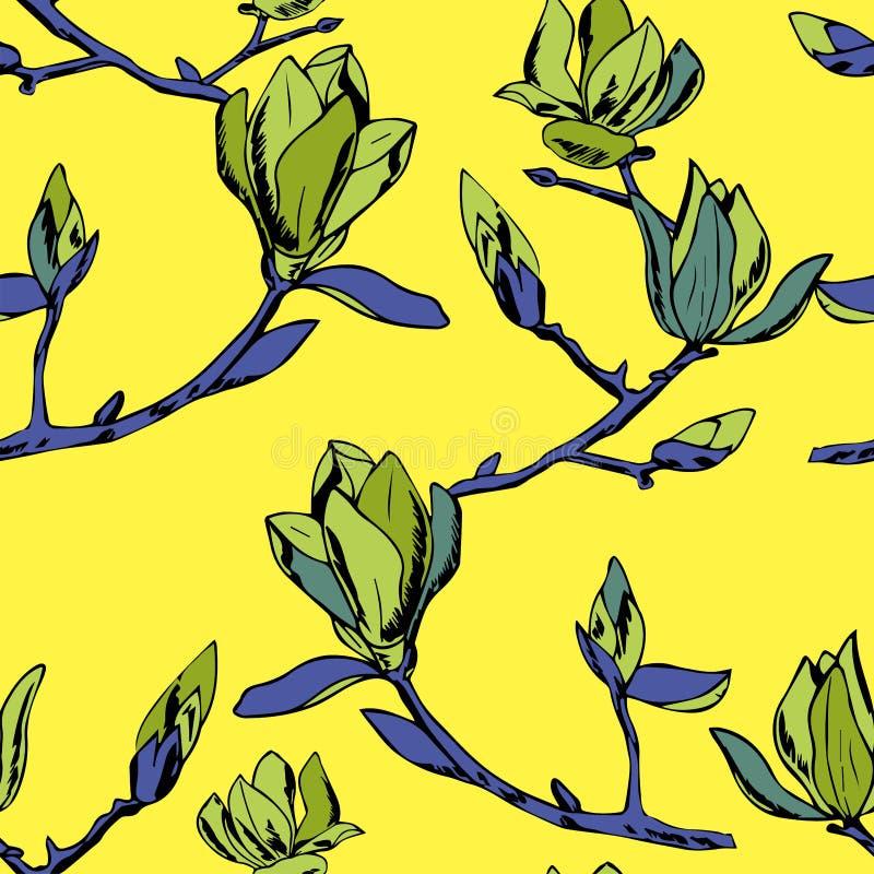 Vector el modelo inconsútil Ornamento de ramitas de las flores de la magnolia stock de ilustración