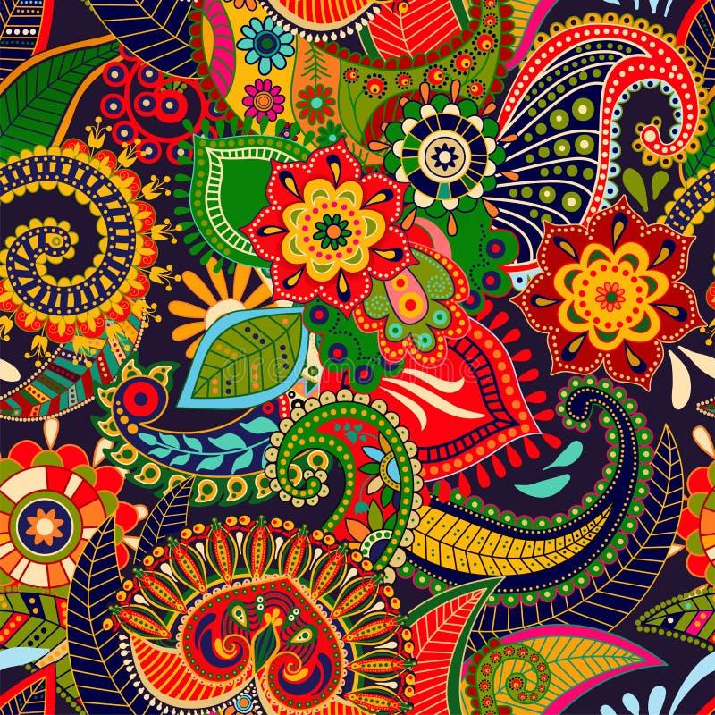 Vector el modelo inconsútil Ornamento floral indio Papel pintado decorativo colorido Paisley y plantas Ilustración del vector libre illustration