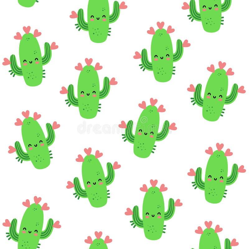 Vector el modelo inconsútil para el día del ` s de la tarjeta del día de San Valentín Cactus cariñoso Estilo a mano Estilo de la  ilustración del vector