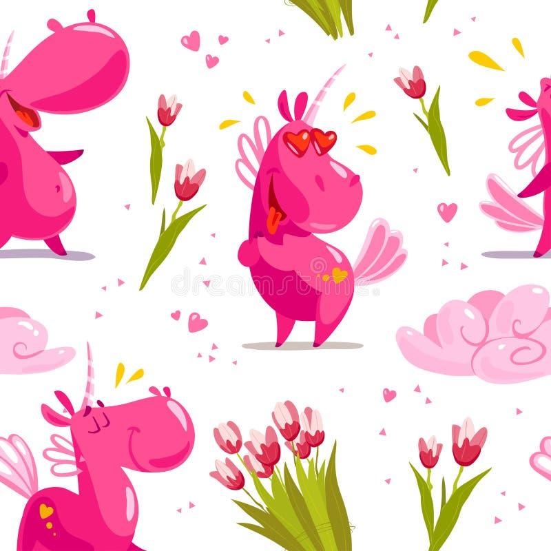 Vector el modelo inconsútil plano con los caracteres divertidos del unicornio, la nube mágica, la flor del tulipán de la primaver stock de ilustración