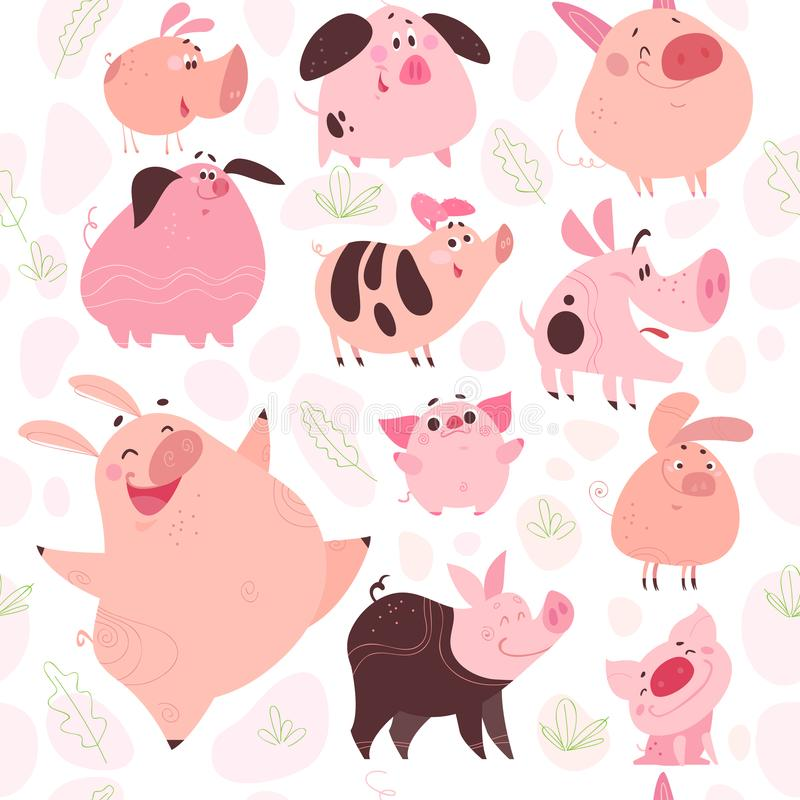 Vector el modelo inconsútil plano con los elementos florales y los icharacters divertidos del cerdo diseñan aislado en el fondo b libre illustration