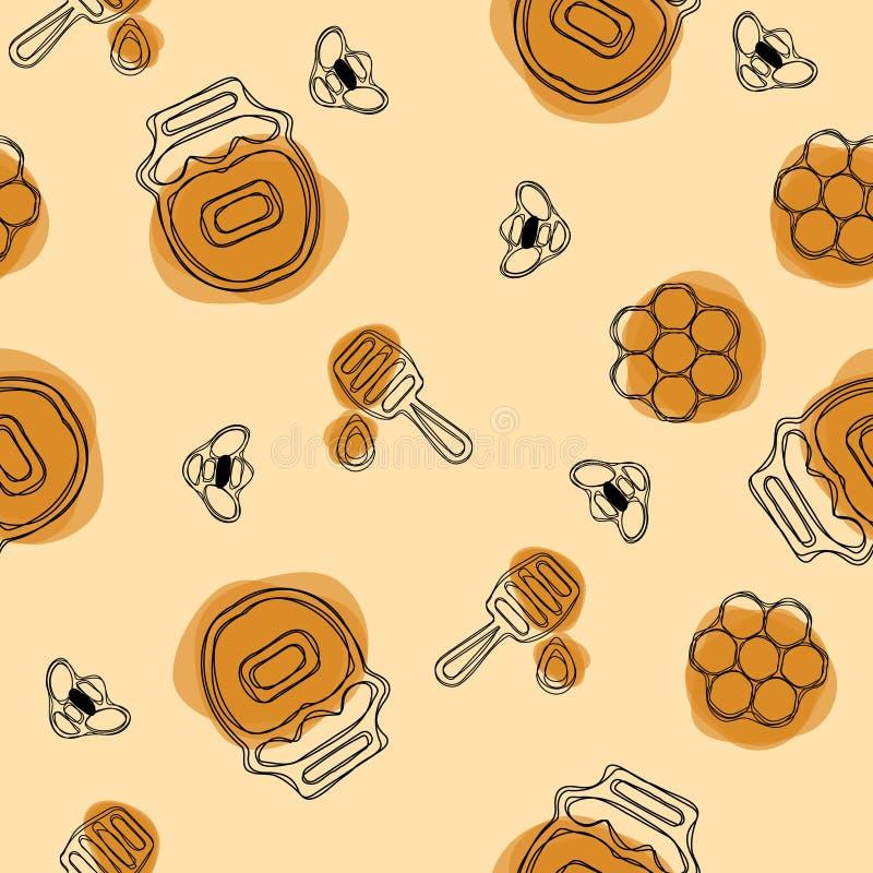 Vector el modelo inconsútil Producto de la apicultura Abeja, miel, cazo, panal, colmena y flor incluidos en fondo verde oliva libre illustration