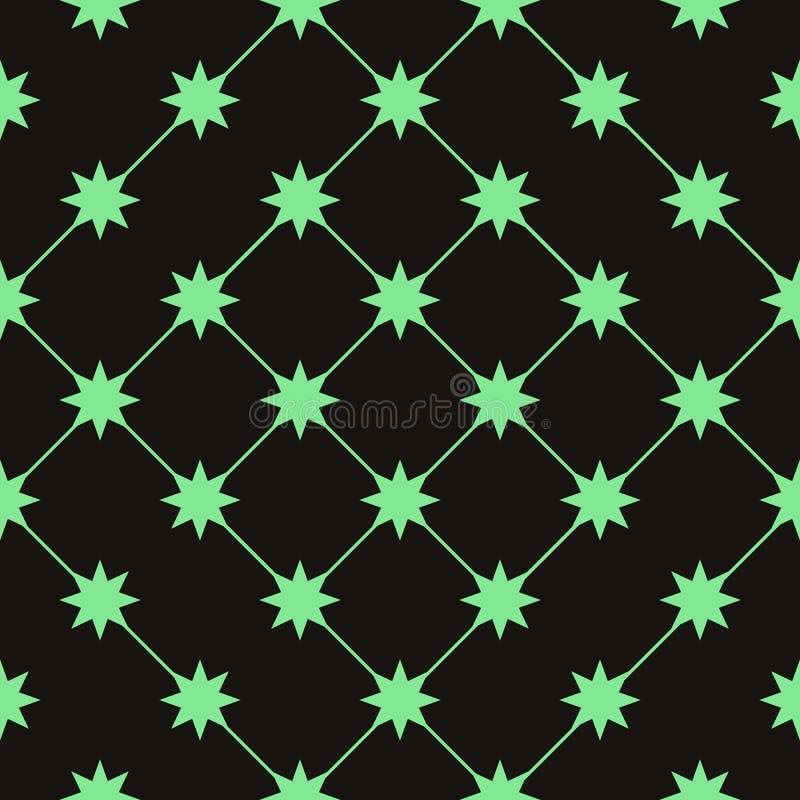 Vector el modelo inconsútil textura con estilo moderna Repetición de las tejas geométricas con los starss verdes ilustración del vector