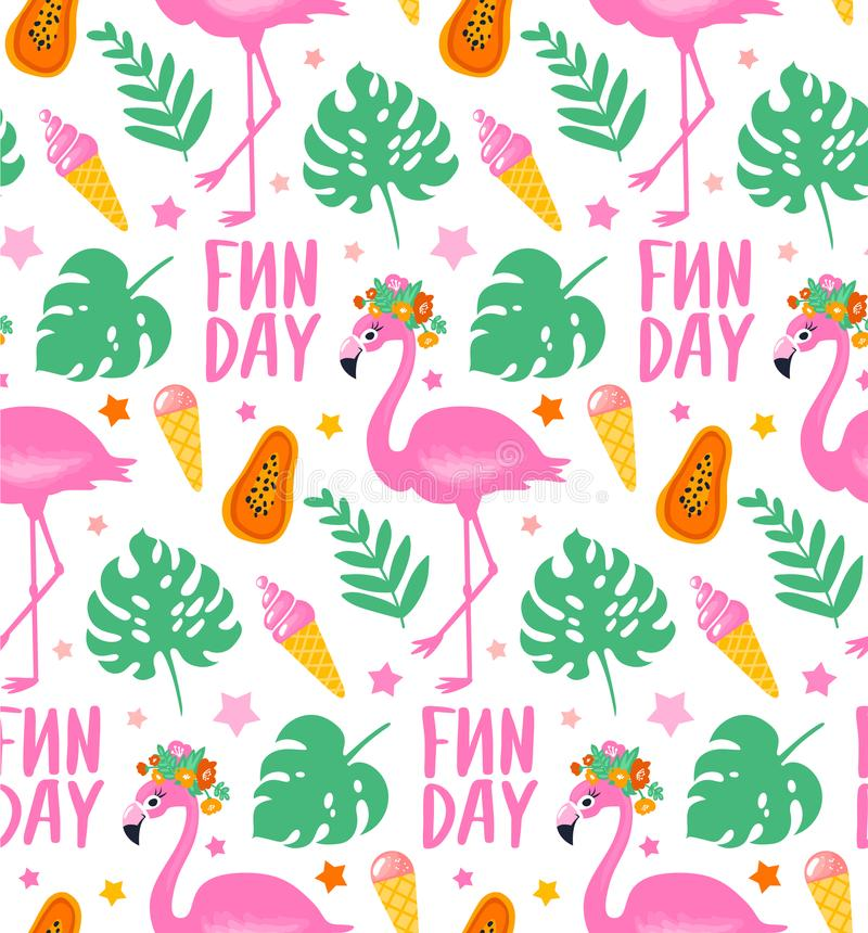 Vector el modelo inconsútil tropical con el flamenco rosado, hojas del trópico stock de ilustración