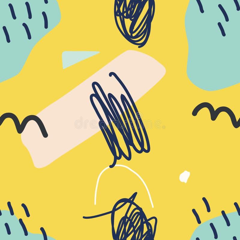 Vector el modelo incons?til Fondo amarillo abstracto con los movimientos del cepillo stock de ilustración