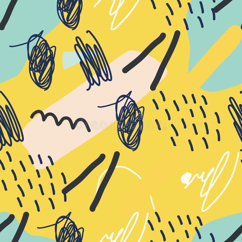 Vector el modelo incons?til Fondo amarillo abstracto con los movimientos del cepillo libre illustration