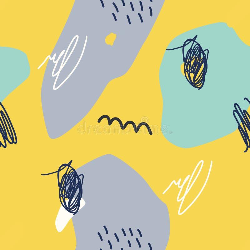 Vector el modelo incons?til Fondo amarillo abstracto con los movimientos del cepillo ilustración del vector