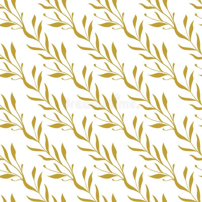 Vector el modelo incons?til Ramas florales de oro diagonales con las hojas stock de ilustración