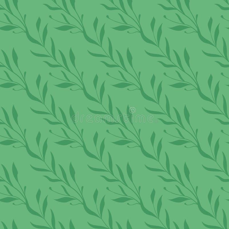 Vector el modelo incons?til Ramas florales verdes diagonales con las hojas en fondo verde stock de ilustración