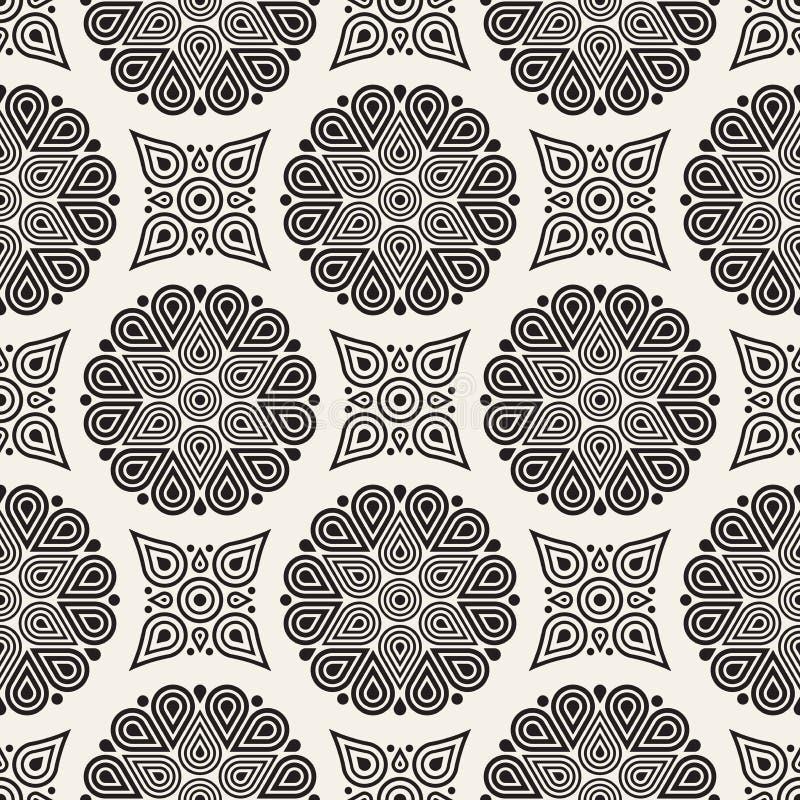 Vector el modelo incons?til Textura abstracta elegante moderna Repetición de las tejas geométricas del círculo y de la estrella d stock de ilustración