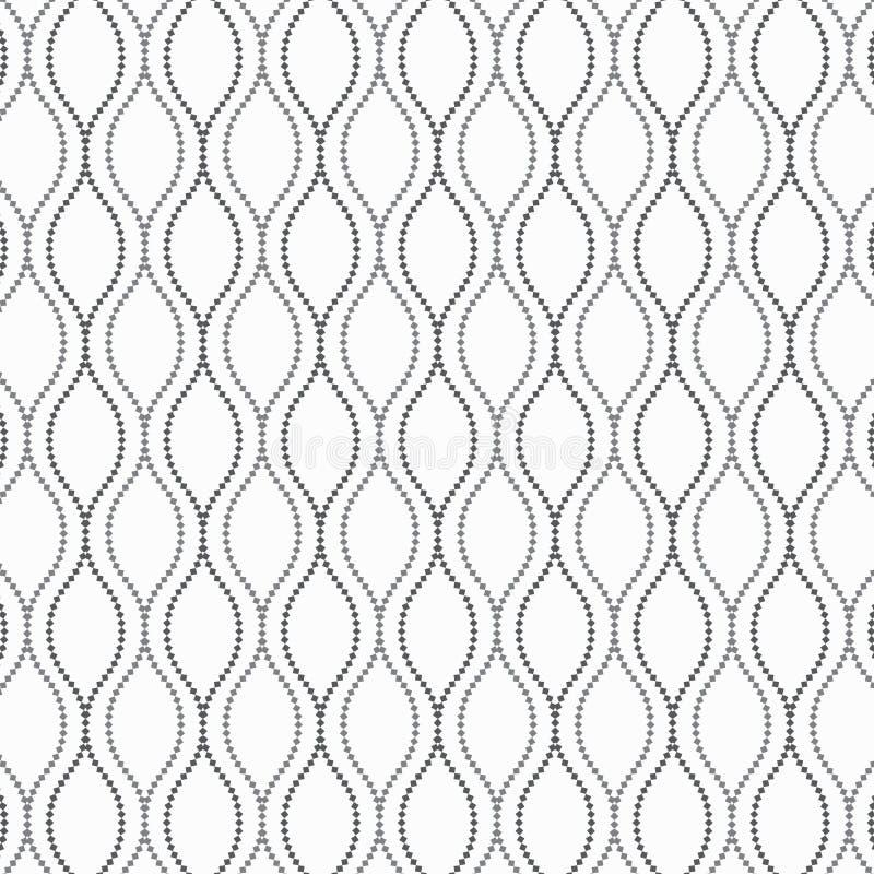Vector el modelo, repitiendo la guirnalda abstracta adorna con los pequeños cuadrados en línea ondulada ilustración del vector