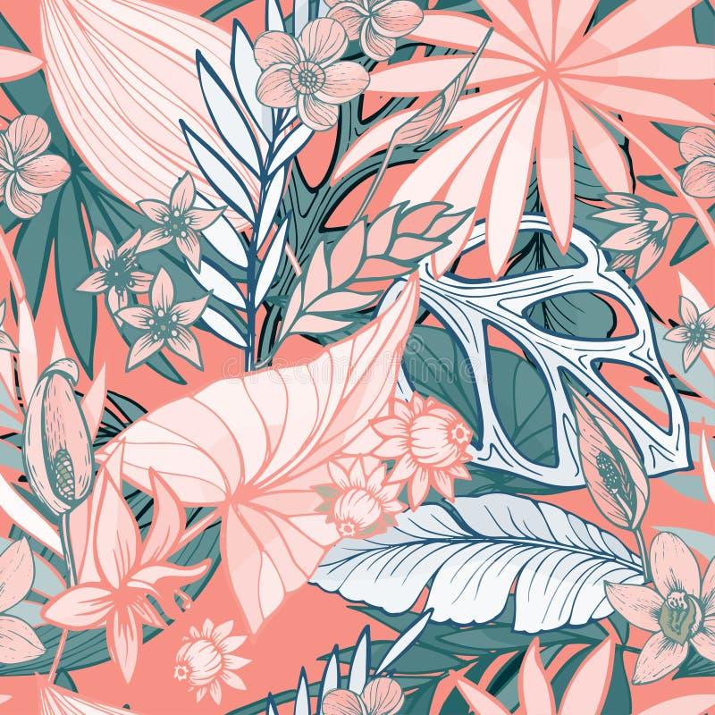 Vector el modelo tropical brillante artístico hermoso inconsútil con el plátano, la hoja del Syngonium y del Dracaena, diversión  stock de ilustración