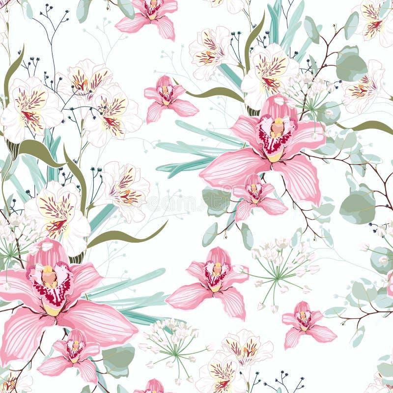 Vector el modelo tropical inconsútil, con la flor de la orquídea del paraíso en la floración libre illustration
