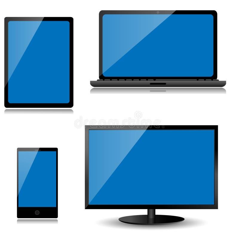 Vector el monitor, el ordenador portátil, la tableta y el teléfono móvil ilustración del vector