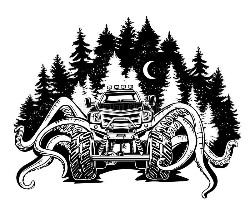 Vector el monster truck con los tentáculos del molusco y del paisaje del bosque Tatuaje animal místico del coche Aventura, viaje ilustración del vector