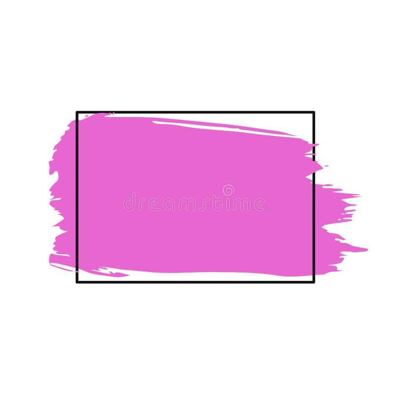 Vector el movimiento, el cepillo, la línea o la textura de la brocha Elemento, caja, marco o fondo artístico sucio del diseño par stock de ilustración