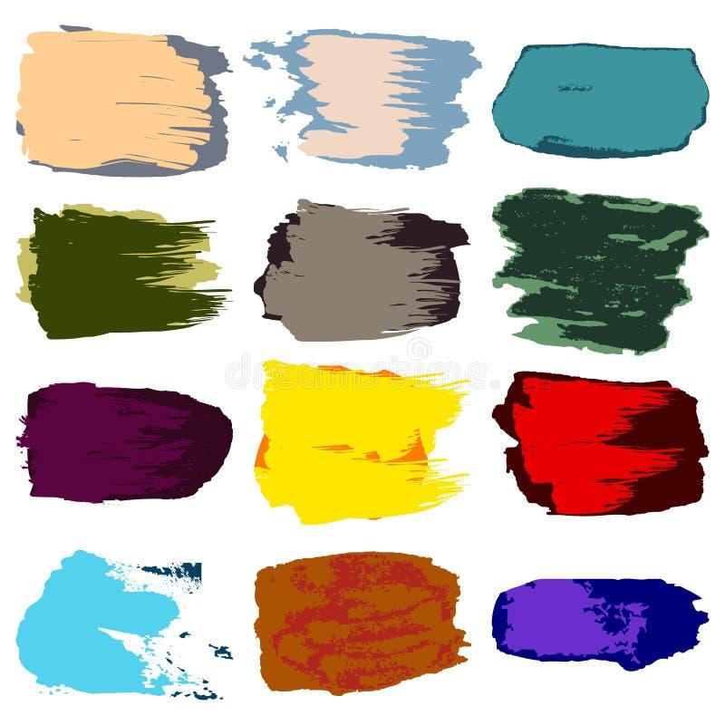 Vector el movimiento del cepillo, acrílico de la pintura de la mancha, extracto de dibujo de la mano stock de ilustración