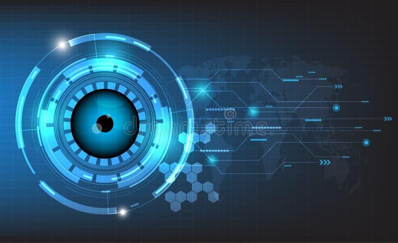 Vector el mundo y el globo del ojo futuristas abstractos en fondo de la placa de circuito stock de ilustración