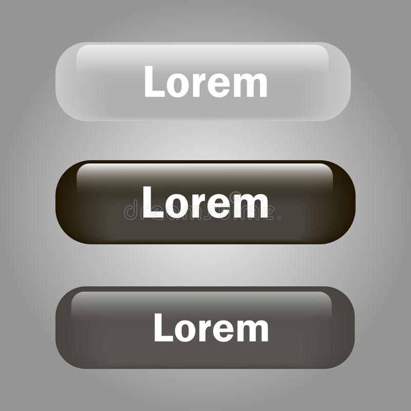 Vector el negro y el gris brillantes de cristal del botón del icono ilustración del vector