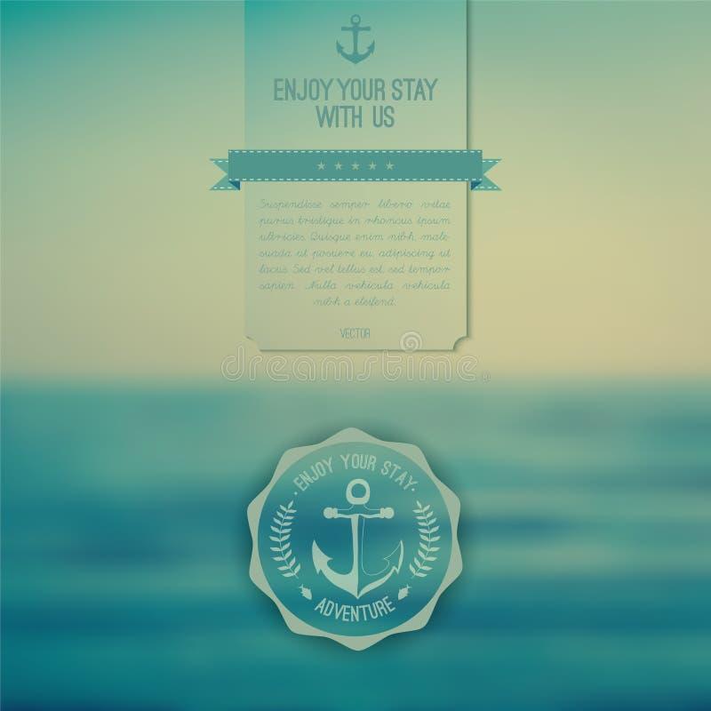Vector el océano, paisaje borroso, plantilla del interfaz W corporativo stock de ilustración