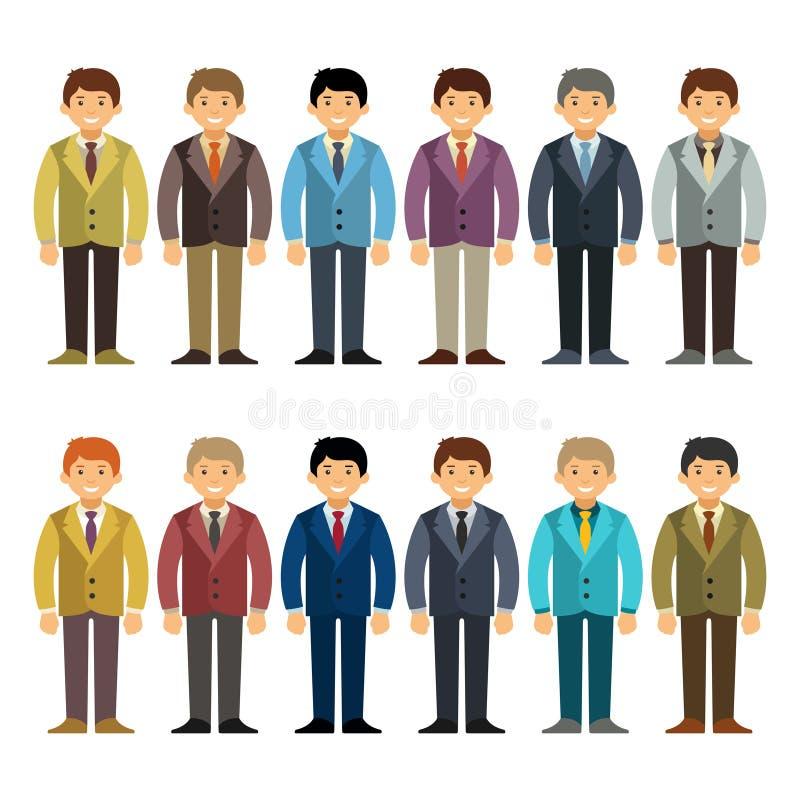 Vector el oficinista o el juego de caracteres caucásico del hombre de negocios en estilo plano de la historieta stock de ilustración