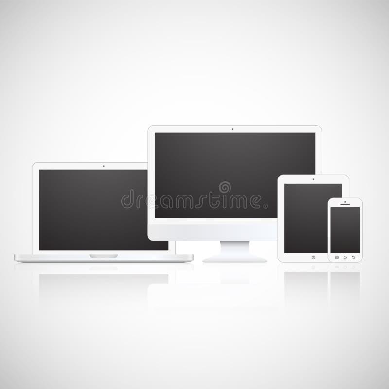 Vector el ordenador portátil, la tableta, el monitor y el teléfono ilustración del vector