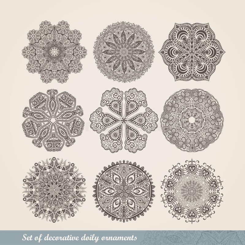 Vector el ornamento indio, estampado de flores caleidoscópico, mandala S stock de ilustración