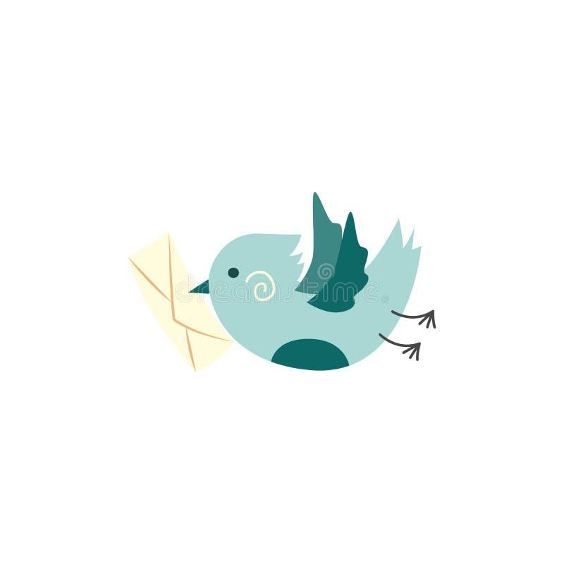 Vector el pájaro verde con la tarjeta postal, letra en pico ilustración del vector
