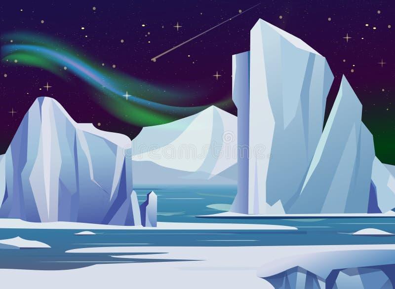 Vector el paisaje ártico de la noche del ejemplo con, el iceberg y las montañas Luces polares del fondo del invierno del clima fr libre illustration