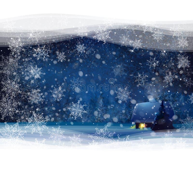 Vector el paisaje del invierno de la noche con el fondo de la casa y del bosque, stock de ilustración