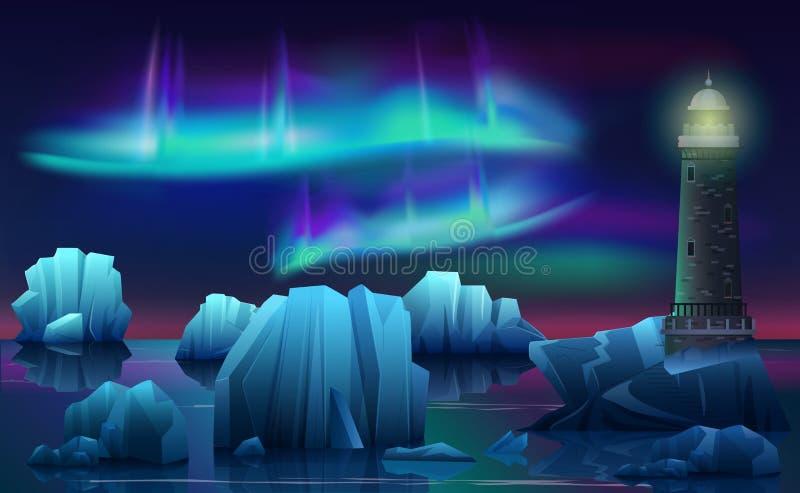 Vector el paisaje del invierno del faro en el Océano ártico del hielo con los icebergs Noche polar con el aurora borealis septent stock de ilustración