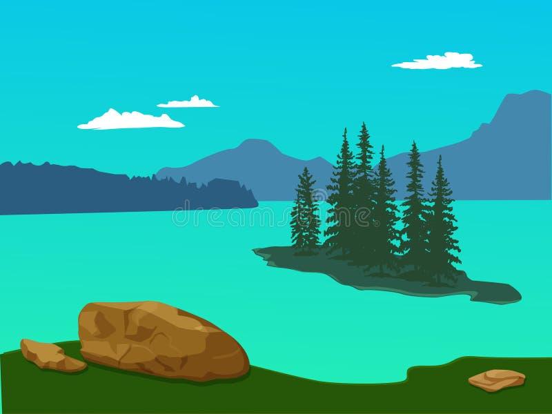Vector el paisaje verde con las montañas, las piceas y las piedras - para ilustración del vector