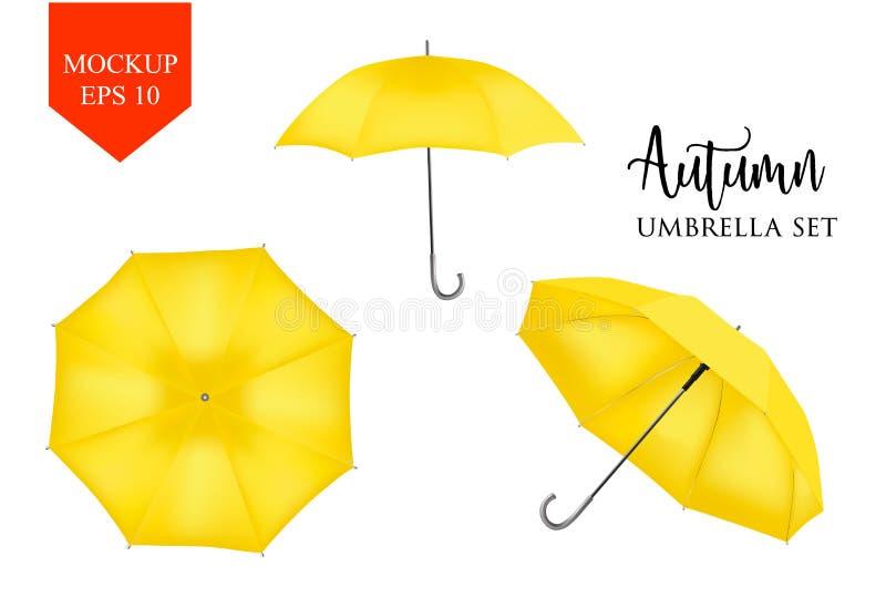 Vector el parasol realista, sistema de la sombrilla del paraguas de la lluvia mofa redonda para arriba stock de ilustración