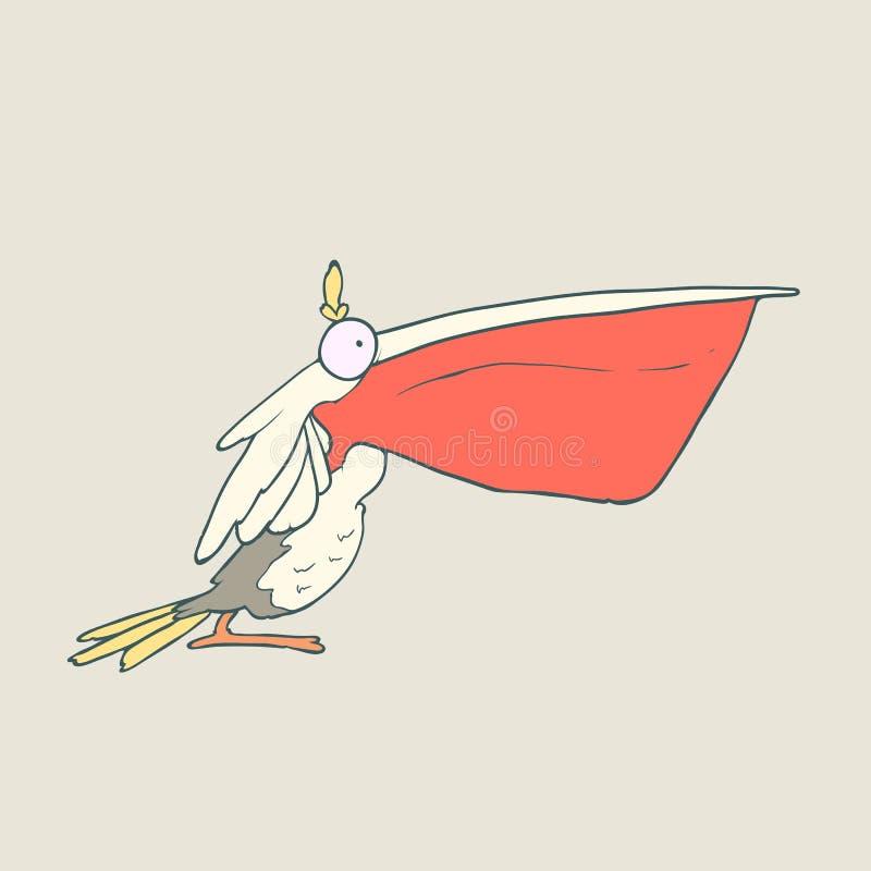 Vector el pelícano divertido dibujado mano del pájaro con el pico rojo en fondo llano ilustración del vector