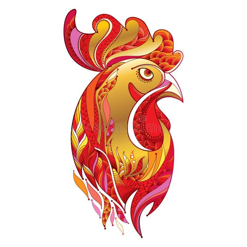 Vector el perfil principal del gallo o del gallo del esquema en oro y el rojo en blanco Símbolo del Año Nuevo 2017 en calendario  stock de ilustración