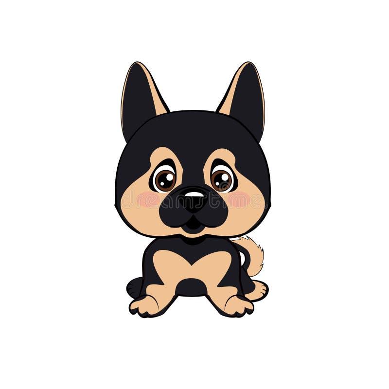 Vector el perro aislado el ejemplo común de la historieta del carácter de Emoji desconcertado, tímido y se ruboriza emoticon de l ilustración del vector